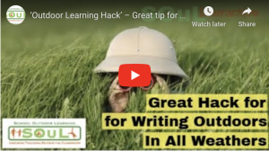 Outdoor Learning Hack – Great tip for writing outdoors when it's wet.